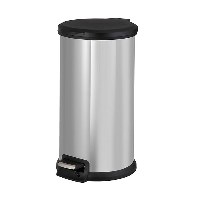 Alternate image 1 for Simply Essential™ Stainless Steel 40-Liter Round Step-On Trash Bin