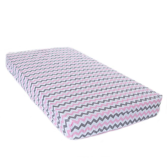 Alternate image 1 for Bambella Designs Chevron Fitted Crib Sheet in Pink