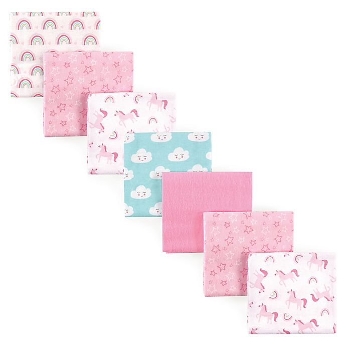 Alternate image 1 for Luvable Friends® 7-Pack Rainbow Flannel Receiving Blankets in Pink