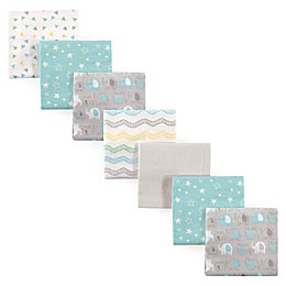 Luvable Friends® 7-Pack Flannel Elephant Receiving Blankets in Green