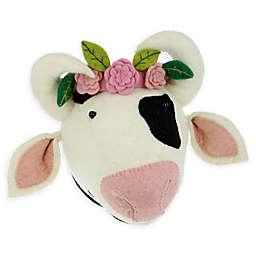 Fiona Walker Cow with Flower Headdress 10-Inch x 11-Inch Plush Wall Décor