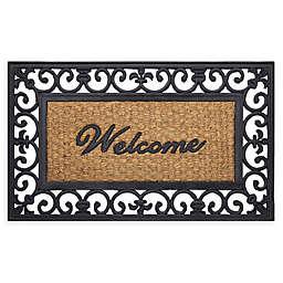 """Achim Wrought Iron Welcome 18"""" x 30"""" Rubber Door Mat in Brown"""