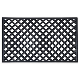 "Achim Wrought Iron Lattice 18"" x 30"" Rubber Door Mat in Black"