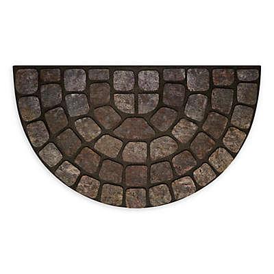 """Achim Stone Slice 18"""" x 30"""" Raised Rubber Door Mat in Grey Multi"""