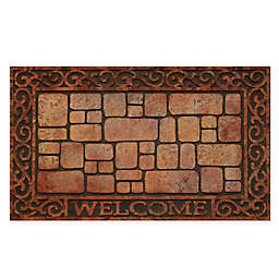 """Achim Paver Scroll Welcome 18"""" x 30"""" Multicolor Raised Rubber Door Mat"""