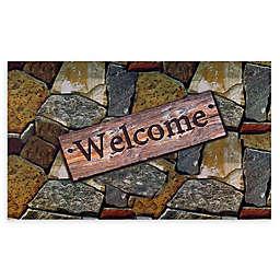 "Achim Quarry Stones Welcome 18"" x 30"" Multicolor Rubber Door Mat"