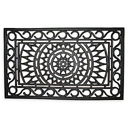 "Entryways Sunburst 18"" x 30"" Rubber Door Mat in Black"