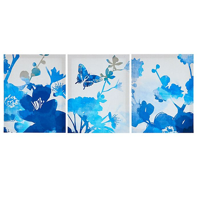 Alternate image 1 for Madison Park Cobalt Garden 3-Piece Printed Canvas Wall Art Set