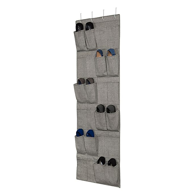Alternate image 1 for Squared Away™ Arrow Weave 24-Pocket Over-the-Door Shoe Organizer in Grey