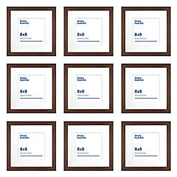 Simply Essential™ Gallery 8-Inch x 8-Inch Matted Wood Picture Frames in Walnut (Set of 9)