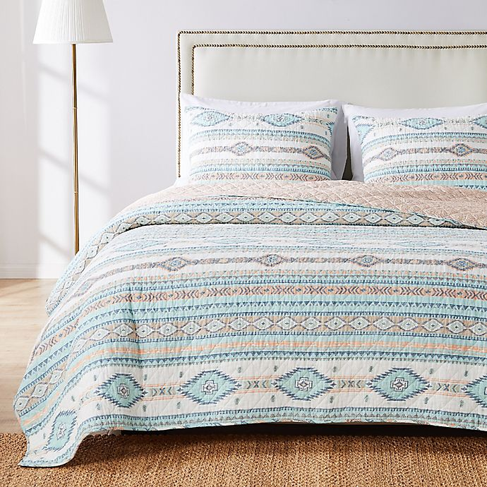 Alternate image 1 for Phoenix Reversible Quilt Set in Turquoise