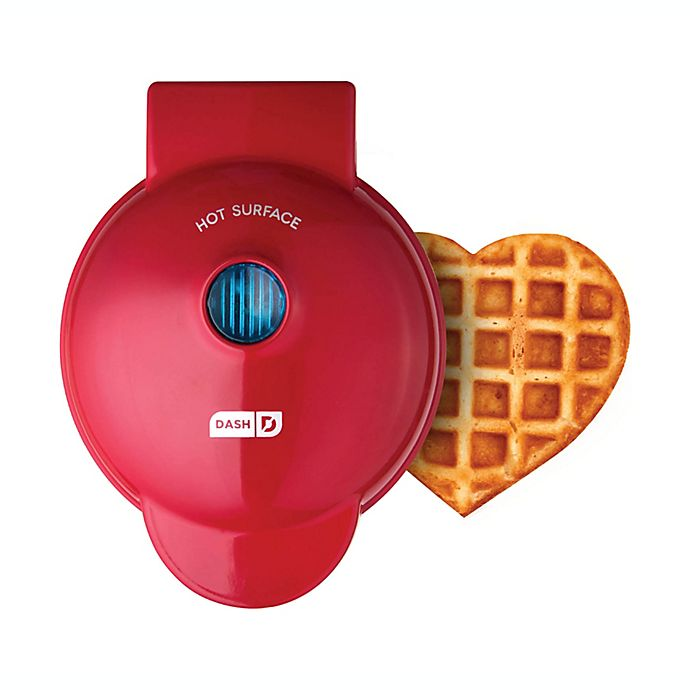 Alternate image 1 for Dash® Heart Mini Waffle Maker in Red