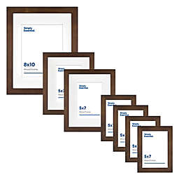 Simply Essential™ Gallery 7-Piece Matted Wood Picture Frame Set in Walnut