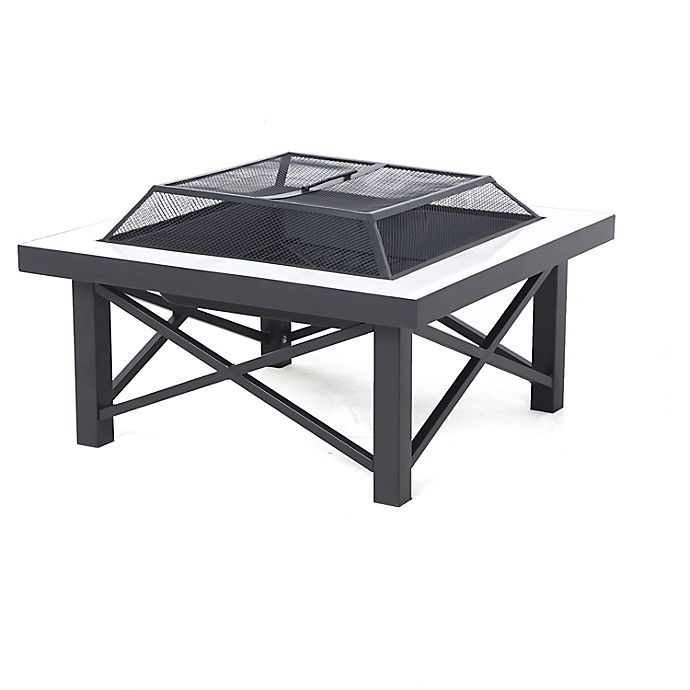 Alternate image 1 for W Home™ Stonington Tile-Top Steel Wood-Burning Fire Pit with Protective Cover in Black