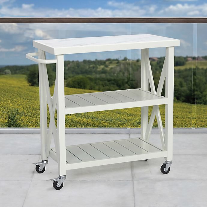 Alternate image 1 for W Home Galvanized Steel Outdoor Cart in White