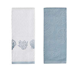 Bayshell 2-Pack Hand Towels in Blue/White