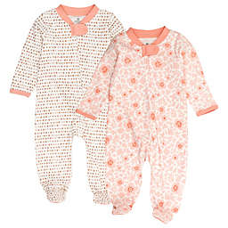 The Honest Company® 2-Pack Floral Organic Cotton Sleep & Play Footed Pajama in Peach