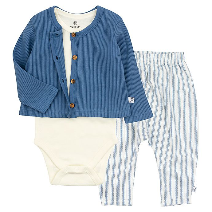 Alternate image 1 for The Honest Company® 3-Piece Bodysuit, Pant, and Cardigan Set in Blue