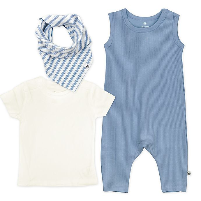 Alternate image 1 for The Honest Company® Size 18M 3-Piece Romper, Shirt and Bib Set in Blue