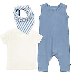 The Honest Company® Newborn 3-Piece Romper, Shirt and Bib Set in Blue