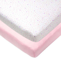The Honest Company® 2-Pack Love Dot Organic Cotton Crib Fitted Sheets in Pink/White