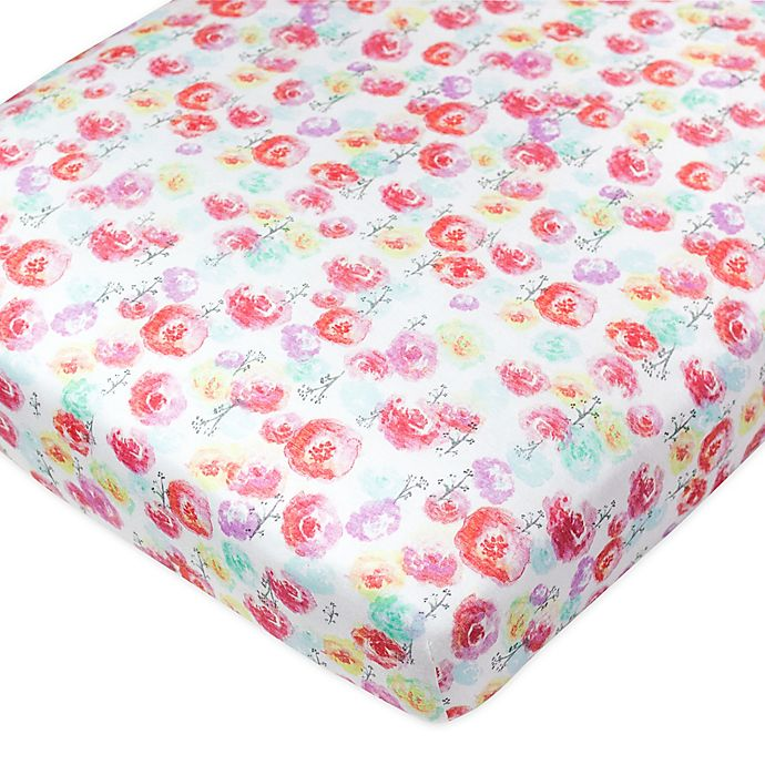Alternate image 1 for The Honest Company® Rose Blossom Organic Cotton Fitted Crib Sheet in Multi
