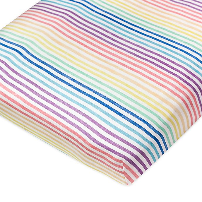 Alternate image 1 for The Honest Company® Rainbow Stripe Organic Cotton Fitted Crib Sheet