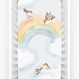 Rookie Humans® Rainbow & Birds Fitted Crib Sheet in Blue