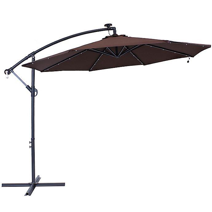 Alternate image 1 for Sunnydaze Decor 9.59-Foot Octagon Offset Solar LED Patio Umbrella in Brown