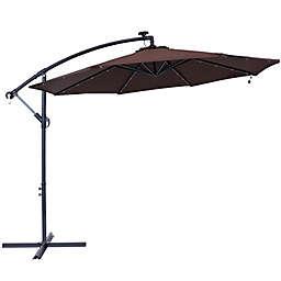Sunnydaze Decor 9.59-Foot Octagon Offset Solar LED Patio Umbrella in Brown