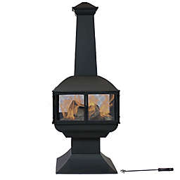 Sunnydaze Wood-Burning 360-Degree Chiminea Fire Pit in Black