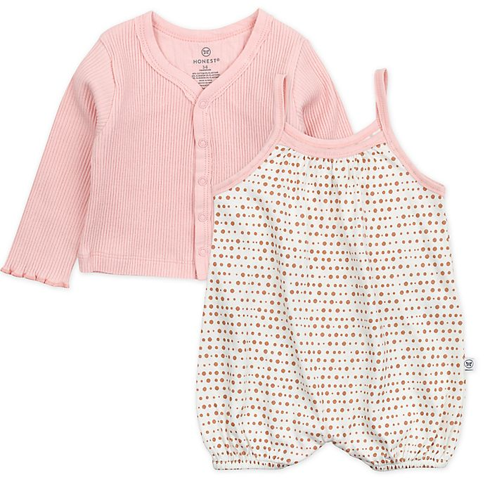 Alternate image 1 for The Honest Company® 2-Piece Bubble Romper and Cropped Cardigan Set in Ivory/Pink