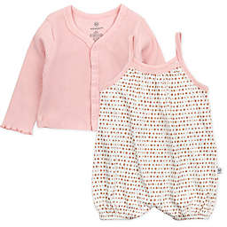The Honest Company® 2-Piece Bubble Romper and Cropped Cardigan Set in Ivory/Pink
