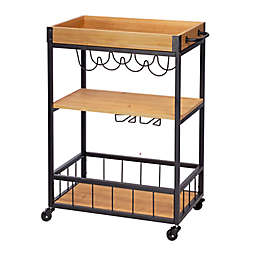 Honey-Can-Do® Industrial Rolling Bar Cart with Serving Tray