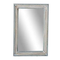 Ridge Road Decor Large 32-Inch x 48-Inch Rectangular Distressed Wood Wall Mirror in Blue/White