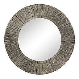 Ridge Road Décor 30.5-Inch Round Antique Aluminum Frame Wall Mirror in Silver