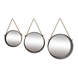 Ridge Road Décor 23.6-Inch Round Metal Wall Mirrors with Jute Rope in Grey (Set of 3)