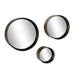 Ridge Road Décor 15.8-Inch Round Bronze Rimmed Metal Wall Mirrors in Black (Set of 3)