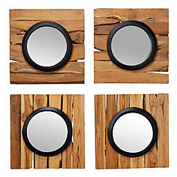 Ridge Road Décor 17.7-Inch Round Teak Wood Wall Mirrors in Brown (Set of 4)