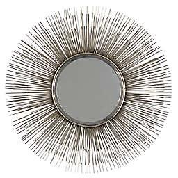 Ridge Road Decor 28.5-Inch Round Metal Starburst Wall Mirror in Silver