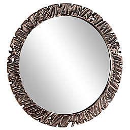 Ridge Road Décor 40-Inch Round Textured Gunmetal Wall Mirror in Black