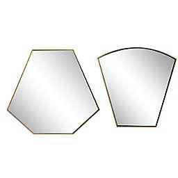 Ridge Road Decor Geometric Metal Wall Mirrors in Gold