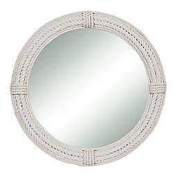 Ridge Road Décor 36-Inch Round Jute Rope Wall Mirror in White