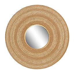 Ridge Road Decor 40-Inch Round Textured Metal Wall Mirror in Brown/Gold