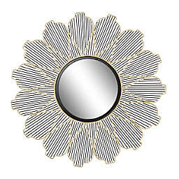 Ridge Road Décor 29-Inch Round Floral Accent Wall Mirror in Black/Gold