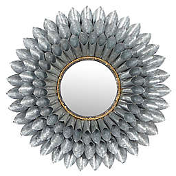 Ridge Road Décor 32-Inch Round 3D Metal Floral Accent Mirorr in Silver