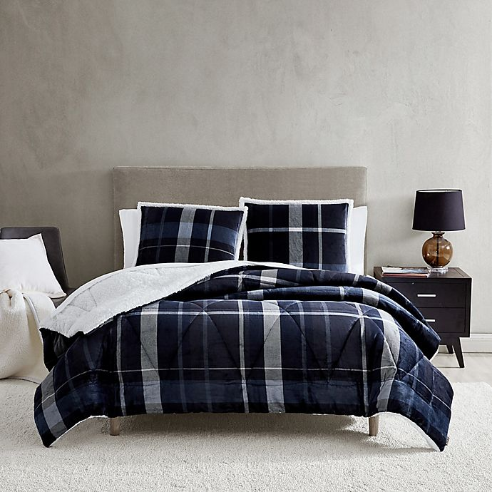 Alternate image 1 for UGG® Avery 2-Piece Reversible Twin/Twin XL Comforter Set in Ocean Plaid