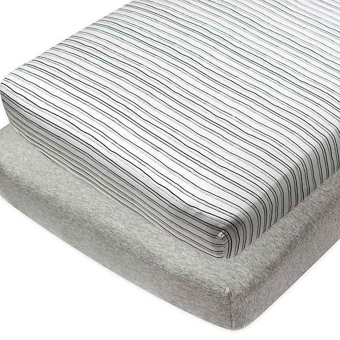 Alternate image 1 for The Honest Company® 2-Pack Compass Organic Cotton Crib Fitted Sheets in Grey/Black/White