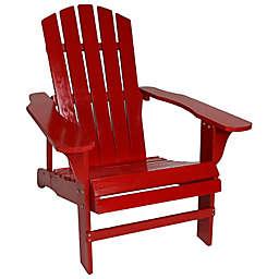 Sunnydaze Coastal Wooden Adirondack Chair in Red