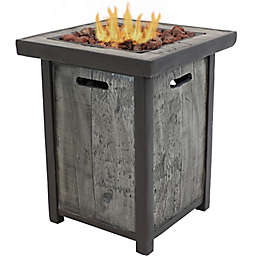 Sunnydaze Weathered Wood-Look Propane Fire Pit Table in Grey